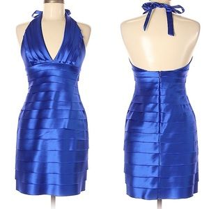 BGBGMAXAZARIA Royal blue halter cocktail dress